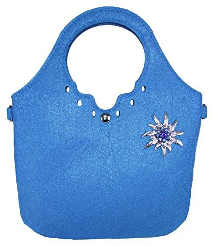 Trachtenland - Trachtentasche kleiner Shopper mit Edelweiß oder Hirsch Applikation Edelweiß - Blau