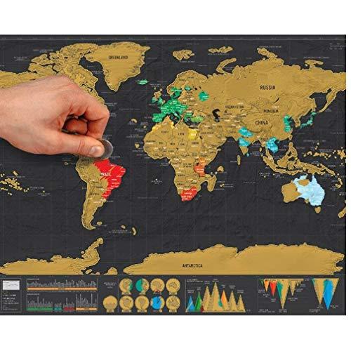 Oulensy 1pcs 82x59cm Negro Deluxe Erase Mapa Mundo