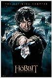 Close Up The Hobbit Poster Die Schlacht der fünf Heere Bilbo (93x62 cm) gerahmt in: Rahmen Weiss