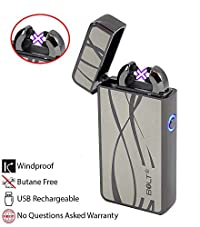 BOLT Lighter® BOLT LighterUSB Rechargeable Windproof Electric Plasma Dual Arc Lighter Set with USB Charging Cable and Carrying Pouch (Curvy Lines)