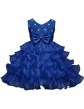 Fantast Costumes Vestido de niñas con lazo vestido de princesa como niña de flores con velo y perlas para boda