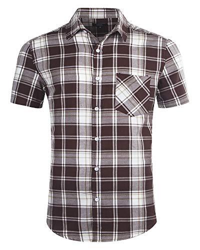 SOOPO Herren Kurzarm Hemden aus 100% Baumwolle Comfort Fit Freizeithemd Kariertes Männerhemd, Braun, XXL - Braun-kariertes Hemd