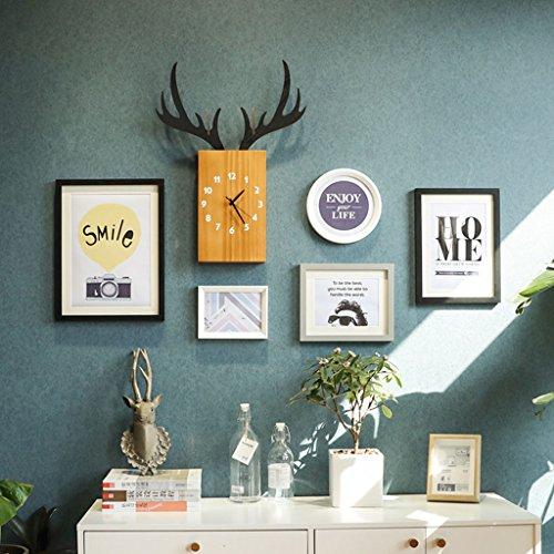 Home @ Wall Bilderrahmen Nordischen Stil Foto Wand Kreative Kombination Foto Wanduhr Restaurant Wohnzimmer Modernen Minimalistischen Bilderrahmen Wand ( Farbe : A , größe : 134*80cm )