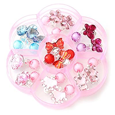 TOYMYTOY Young Girls Earrings Box Set Clip-on Jewelry Kids Accessories Birthday Gift 7 Pairs