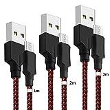 Micro USB Kabel [3-Pack, 1m+2m+3m] Yosou USB Ladekabel - Schnellladekabel für Android Smartphones, Samsung, HTC, Huawei, Sony, Nexus, Blackberry, Kindle und mehr - Rot