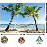 PMP-4life Póster para la pared con fotografía Hamaca playa entre palmeras en el mar. En HD y tamaño XXL, 140 cm x 100 cm. Decoración para la pared en alta definición, fotopóster Caribe Sol, Verano, palmeras. Incluye otro póster de regalo