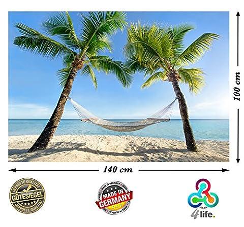 PMP-4life Wandbild Strand Hängematte zwischen Palmen am Meer HD XXL Poster 140cm x 100cm Hochauflösende Wanddekoration Natur Bild für Wandgestaltung | Fotoposter Karibik Sonne Sommer Palmen | inkl. Türposter