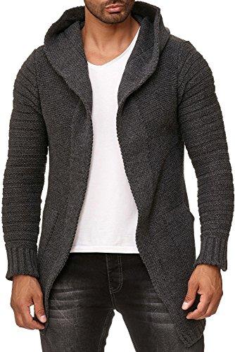 Herren Lange Strickjacke (Lagos Herren Strick-Jacke lang warm (1930 grau, XL))