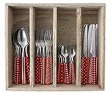 Provence Mixed design cena posate in vassoio, acciaio inossidabile, rosso, 33.5x 29.5x 6.5cm