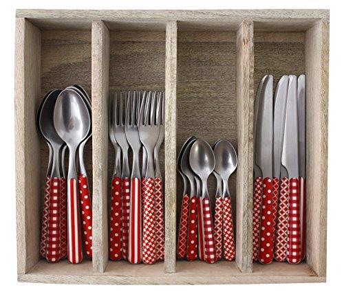 Provence Designs dîner Ensemble de Couverts en Acier Inoxydable, bac, Rouge, 33.5 x 29.5 x 6.5 cm