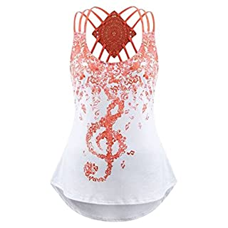 Womens Ladies' Bandages Sleeveless Vest Top Musical Notes Print Strappy Tank Tops (L, Orange)