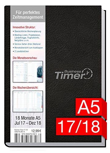 Chäff Business-Timer A5 Kalender 2017/2018 schwarz, 18 Monate Juli 2017-Dezember 2018 - Terminkalender mit Wochenplaner - Organizer - Wochenkalender - Kalendarium für Projektplanung