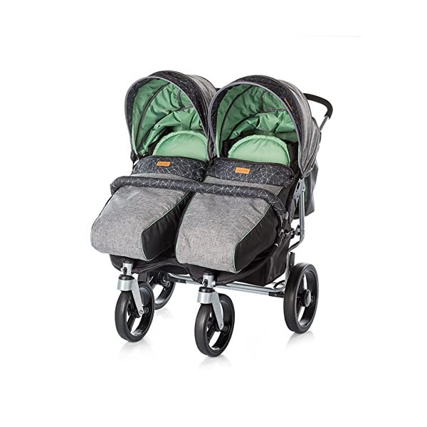 Chipolino Twin Stroller Twix, Green Chipolino Three big section canopies with viewing panels and pockets 5-point adjustable harness with shoulder pads and adjustable leg rests 5 position reclining seats 2