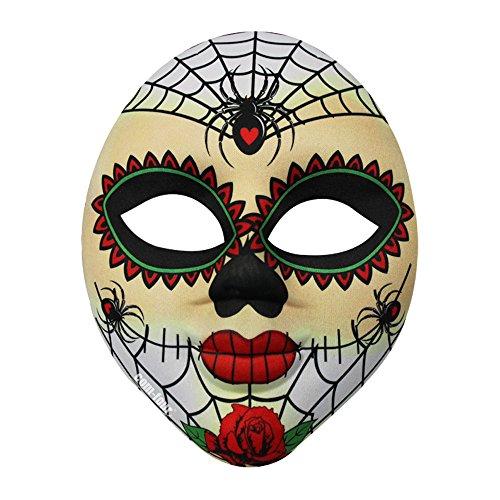 com-four® Gesichtsmaske Dia de los Muertos, Halloween-Gesichtsmaske, weiss-bunt -