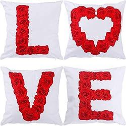 4 Piezas de Funda de Cojín para Día de San Valentín
