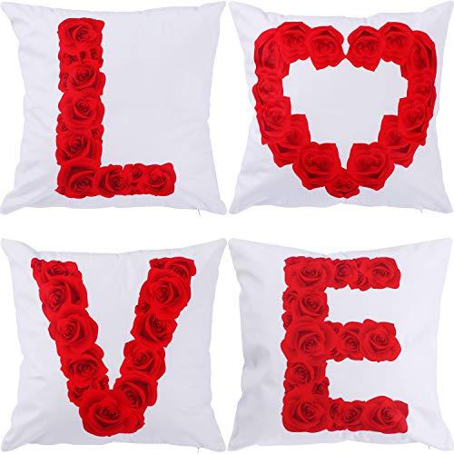 Gejoy 4 pezzi copricuscino piazza dietro cuscino copertura per san valentino halloween san patrizio pasqua divano camera da letto decorazione, 18 per 18 pollici (colore set 1)