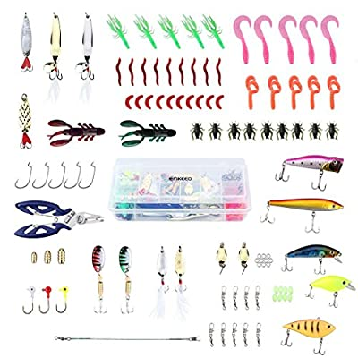 Enkeeo Fishing Lures Set 106 Pcs Tackle Box with Hooks Bass Metal Baits Jig Head Weights Sinker Popper Soft Plastic Worms Scissors Swivel Grub and More from ENKEEO