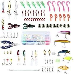 ENKEEO 106 Leurre de Peche 106 PCS Artificielles Peche Appat + Boîte d'Articles de Pêche à 2 Couches Leurre de Peche Kit Très Amusant pour Eau de Mer et Eau Douce ...