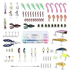 Idea Regalo - ENKEEO 106 Pezzi Kit di Esche Artificiali da Pesca Rigide Morbide e di Metallo con Scatola per Conservare, Forbici in Omaggio
