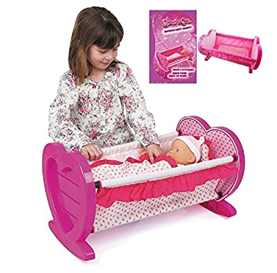 Girls Dolls Rocking Baby Cradle / Crib Cot Bed With Bedding Toy Play Set Gift Xmas - cheap UK light store.
