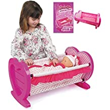 Girls Dolls Rocking Baby Cradle / Crib Cot Bed With Bedding Toy Play Set Gift Xmas by TK
