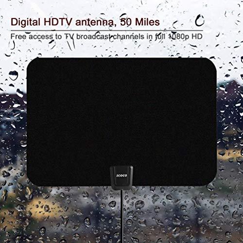 Gusaman 50KM Digital TV Zimmerantenne 1080P Verst?rkt Booster HDTV UHF UKW FM Antenna UR#X (Digital-antenne Für Hdtv-outdoor)