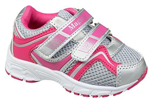 GIBRA® Kinder Sportschuhe, mit Klettverschluss, grau/pink/silber, Gr. 22-27 grau/pink/silber