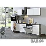 Küchenzeile 280 Cliff inkl. E-Geräte, Grifflos, Hochglanz weiss/Eiche-VintageEiche