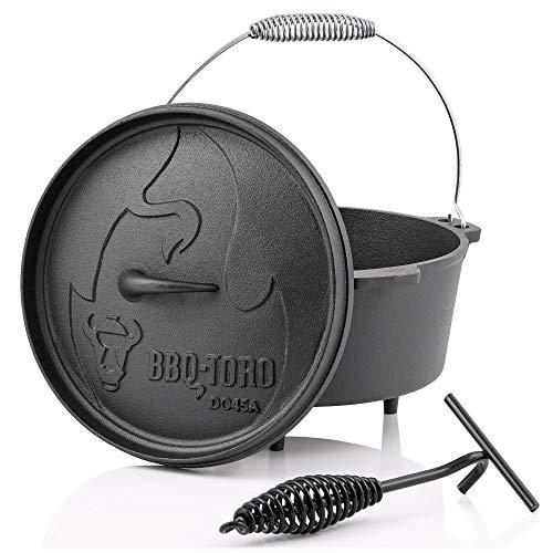 BBQ-Toro Dutch Oven Alpha Serie I bereits eingebrannt - preseasoned I Verschiedene Größen I Gusseisen Kochtopf I Bräter mit Deckelheber (DO45A - 3,1 Liter, Topf mit Füße)