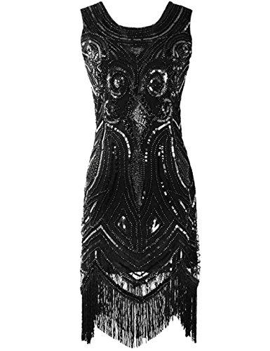 ge 1920er Pailetten Art Deco Inspired Fransen Gatsby Flapper Kleid S Schwarz (Kostüme Schwarzen Kleid)