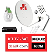 Diesl.com - Kit Parabólica 60cm + LNB + Soporte + 25 Metros de cable + Receptor Satélite + Tacos a pared + Conectores + 10x Bridas + 25 Grapas
