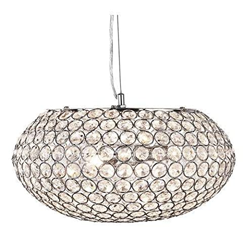 Chantilly Polished Chrome 3 Lamp Oval Pendant Light with Crystal