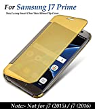 "For Samsung galaxy J7 Prime ""MOBISTYLE"" New Luxury Smart Clear View Mirror Flip Cover For samsung j7 Prime (Gold)"