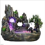 BingWS Gartenbrunnen Luftbefeuchter Innenbrunnen-Steingarten-Brunnen-Fisch-Teich Feng Shui Mountain Landscape Bonsai-Befeuchter-Tischplattenlandschaft Feng Shui (Größe : M)