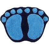 Z-linda Alfombra Antideslizante de Baño Forma Huellas De Pies 40*60cm (Azul)