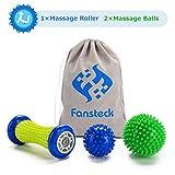 Fansteck Rullo Massaggio Piedi e Palline da Massaggio, Rullo Massaggiatore Muscoli e 2 Palline Diverse per Fascite Plantare & Recupero Muscolare, Rilascio Miofasciale, Terapia dei Trigger Point