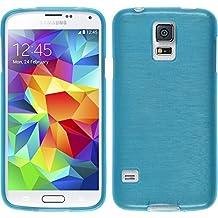 Funda de silicona para Samsung Galaxy S5 mini - brushed azul - Cover PhoneNatic Cubierta + protector de pantalla