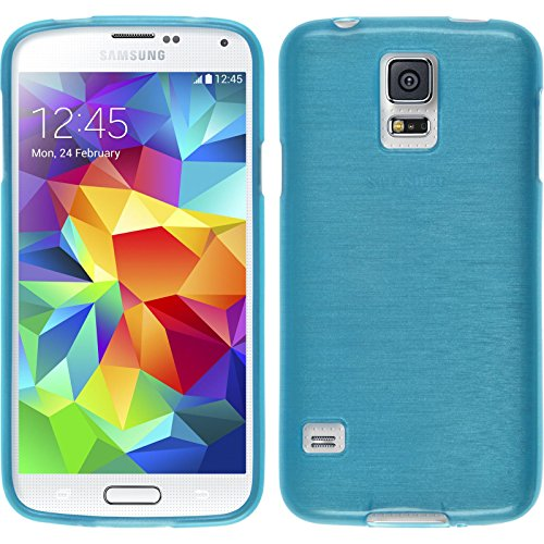 PhoneNatic Custodia per Samsung Galaxy S5 Cover blu brushed Galaxy S5 in silicone + pellicola protettiva