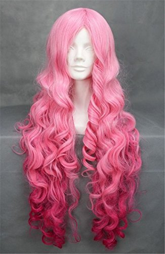a Heiz Resistent Synthetik Lang Voll Lockig Perücke Curly Haar Wigs für Karneval Cosplay Halloween Damenperücke (Curly Rosa Haare)
