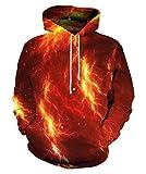 EOWJEED Unisex-Paar 3D Galaxy Print Pullover Hoodie Kapuzen-Sweatshirt XX-Large
