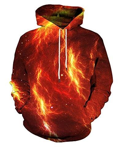 EOWJEED Unisex Couple 3D Galaxy Print Pullover Hoodie Sweatshirt à capuche XXX-Large