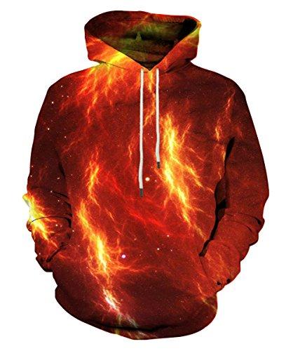 EOWJEED Unisex 3D gedruckt Galaxy Tasche Drawstring Kapuzen Sweatshirt Medium (' And S Men Dress Tall Shirts Big)