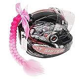 3T-SISTER Bowknot Helm geflochtener Pferdeschwanz Motorrad Fahrrad Helm Haar Zöpfe Haarteile für...
