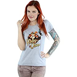 DC Comics mujer Bombshells Harley Quinn Badge Camiseta Small cuero gris