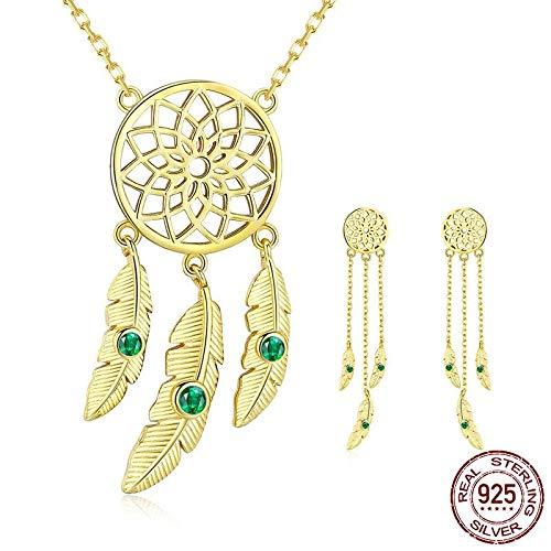 ZWB Schmuck-Sets 925 Sterling Silber Traumfänger Lange Ohrringe Gold Farbe Schmuck Sets Für Frauen Vintage Schmuck - Crystal Rock Damen-t-shirt