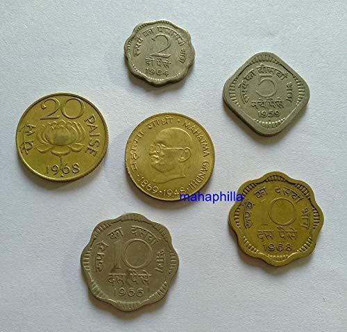 Mahaphilla Presentation Nickel - Brass 6 Different Coins Gandhi Lotus 2 5 10 20 for School Collection