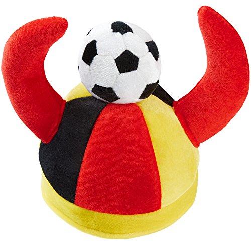 dressforfun 302056 - Deutschland Fan Hut mit Hörnern, angenähte Hörner und Fußball aus Stoff, ideal für Fußballveranstaltungen und Mottopartys Fußball-hut