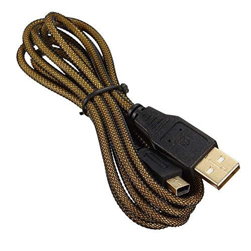 GodMode USB Ladekabel für Nintendo 3DS / 3DS XL/New 3DS / New 2DS XL / 2DS / DSi XL/Handheld-Konsolensystem, extra lang, vergoldet, 3 m (Nintendo Dsi-handheld)