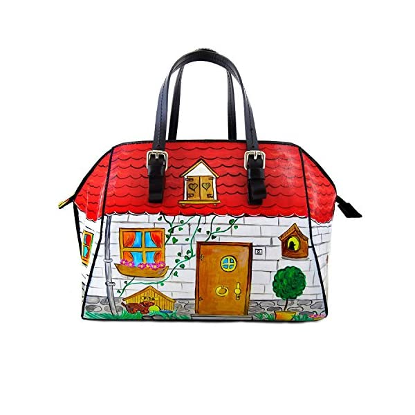 Hand-painted genuine leather shoulder bag – HOME SWEET HOME - Women Bag, Hand Bag, Genuine Leather, Made in Italy, Painted Leather, Handbag and Shoulder Bag, Craftsmanship - handmade-bags