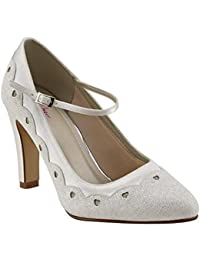 91b22de02750 Rainbow Club Trixie - Block Heel Ivory Shimmer Mary-Jane Bridal Shoes